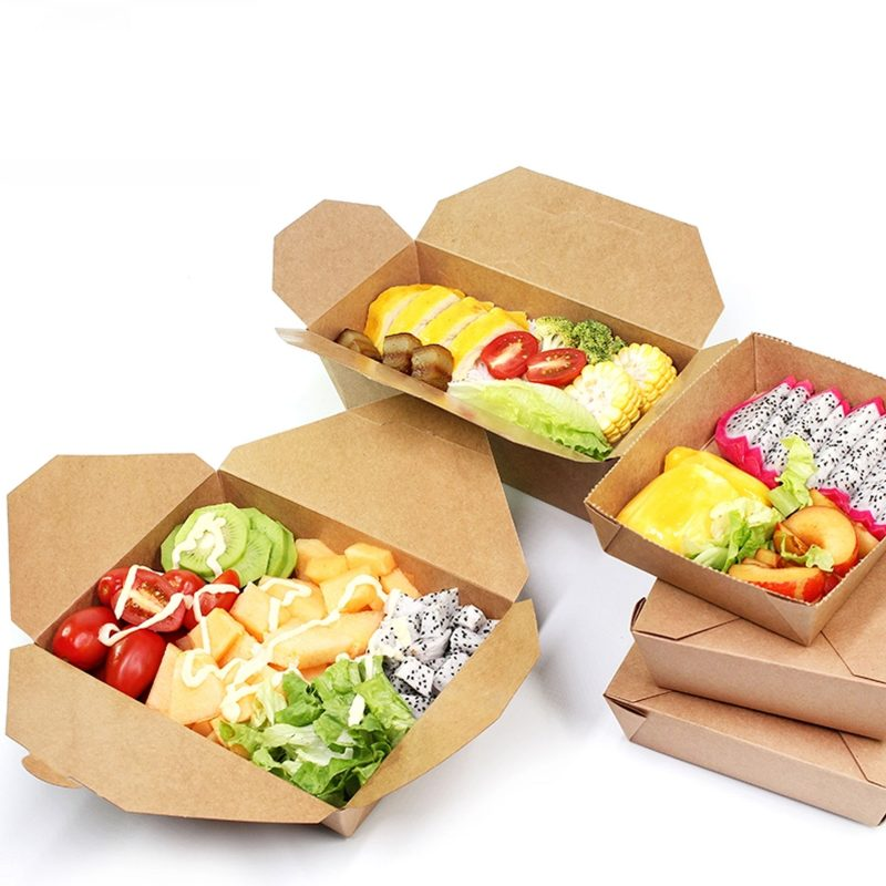 Food Grade Kraft Paper Food Take Away Package Boxes